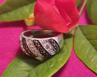 Sterling Silver Ring with CZ and Marcasite Accents (st - 2048)