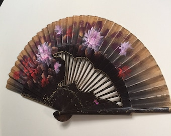 Vintage Hand Painted Fan with Wood Frame