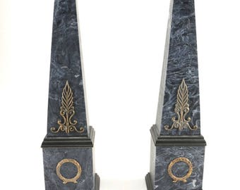 Neoclassical Faux Marble Obelisks- A Pair