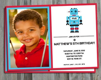 Robot Birthday Party, Personalized, Custom, Photo Invitation, Aqua and Red, Jpeg or Pdf Digital File, Diy Party Printable, Science party