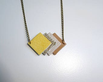 camel leather shades yellow and brass necklace