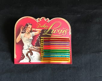 Vintage Art Deco colorful Deka-Luxus hairpin bobby pin bob hairdo pin display Made in Germany