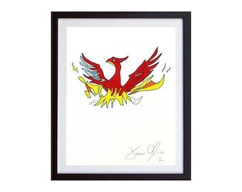 Phoenix Bird painting mythology legend mythical fenix art rising from the ashes symbolisim greek egyptian japan small jason oliva rebirth