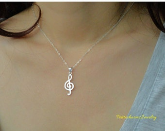Petite Shiny Music Note Sterling Silver Necklace, Musical Jewelry, For Her, Birthday Gift, Someone Who Loves Music, Delicate Musical Note