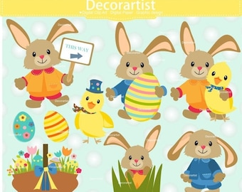 ON SALE Easter clip art, bunny clip art,easter egg hunt clip art,baby rabbit clip art,easter day clip art, INSTANT Download