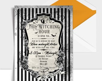Halloween Invitation Personalised Spooky Party Invites Stripy Gothic Vintage Style Printables Digital