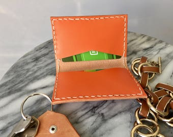 Hand stitched luxury leather card case