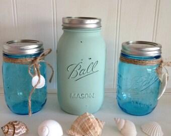 Painted Shabby Chic Mason Jars Set of 3,  Ball Jars Trio, Wedding Vase Decor Set of 3, Rustic Wedding Decor, Mason Jars