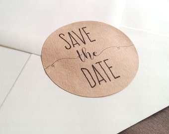 20 Save the Date stickers - 2 inch circle stickers - Save the date labels - envelope seals