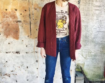 1970s Burgundy Quilted Cotton Tie Front Mid Weight Jacket S M