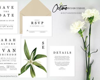 Luxe Chic Black White Bridal Invitation Suite w/ invitation + rsvp postcard + details card + wishing well card + wedding program