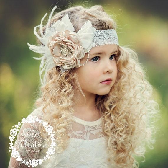 Girls Headbands Flower Feathers Headband Girl