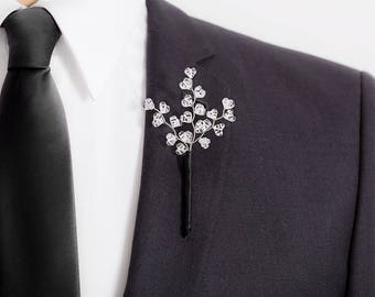 Limited Edition Genuine Quartz Crystal Boutonniere - Clear / White - Mens Boutonniere