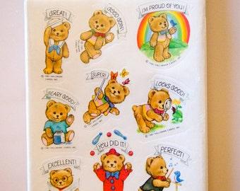 Teddy Bear Hallmark Stickers 9 Sheets New NIP Vintage 1981