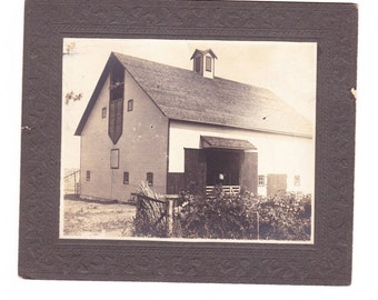 Real Black and White Photo of Huge Barn from 1903