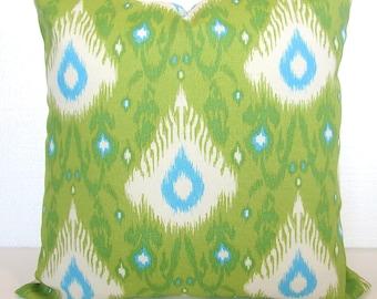Green Outdoor Lime green Outdoor Throw Pillow Covers Lime Turquoise Blue Outdoor pillow Covers 16 18x18 20 Ikat Green Tropical Pillows