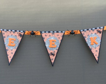 EEK -  Spider -  Orange -  Black - Halloween -  Banner - Wall Hanging - Wall Accent - Home Decor