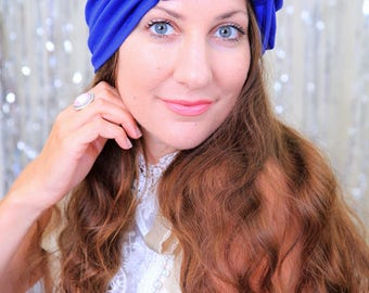 Hair Turban with Bow in Royal Blue - Fashion Head Turbans for Women - Jersey Knit Hairwrap - Lots of Colors