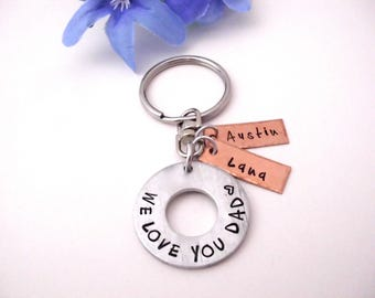 Keychain for Dad, Father's Day Gift, Dad Keychain, Papa Keychain, We Love You Dad, Daddy Gift, Gift for Dad, Gift for Daddy, Kids Names
