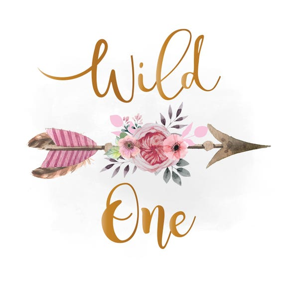 Wild one svg clipart pink floral arrow boho