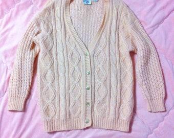 Vintage Pink Peach Cardigan Sweater, Oversized Cardigan, Peach Pink Cardigan, Vintage Pink Cardigan, Vintage Pastel Cardigan, 90s Cardigan