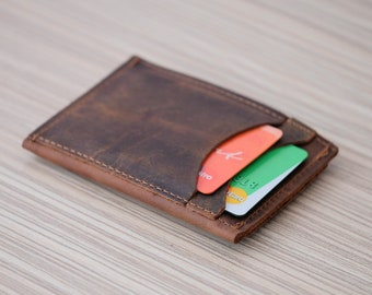 Free Personalization Genuine Leather Card Holder Wallet. Genuine Leather Credit Card Holder Wallet. Gift for him.