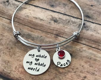 Hand stamped Mother's bangle bracelet personalized with names and birthstones, custom stamped jewelry, gift for mom, Mother's Day Gift