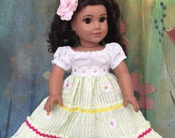 American Girl Floral Ruffle Maxi Dress