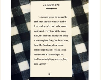 "Jack Kerouac Quote, On the Road, ""the mad ones"", Kerouac Print, Genius Wall Art"