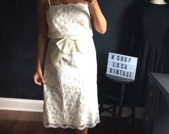 Vintage Ivory Lace spaghetti strap dress