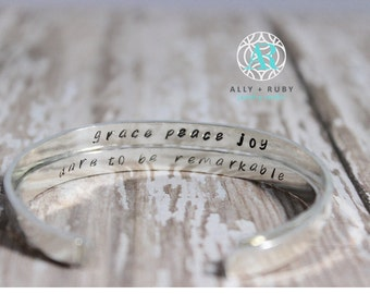 Secret Message Bracelet Cuff | Custom Quote | Inspirational Message | Hand Stamped Inside | Hammered Outside | Sterling Silver or 14K Gold