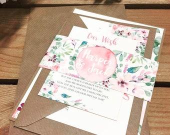 1 Rustic/Floral 'Harper' Wedding Invitation/RSVP/Wish card SAMPLE with envelopes