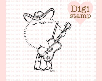 Country Music Chick Digital Stamp for Card Making