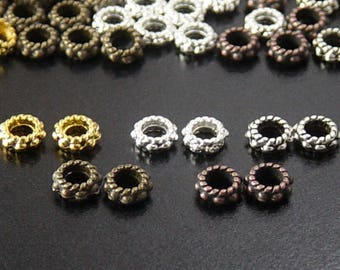 Bead Spacer 140 CHOICE Shiny Silver, Shiny Gold, Antique Silver, Antique Copper, Bronze Daisy Flower 6mm x 3mm Hole 3mm NF (1035spa06s1)
