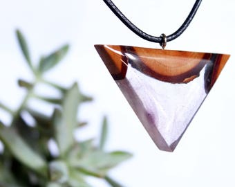 Wood and Resin Necklace, Nature Necklace, Wood Necklace, Woodland Necklace, Terrarium Necklace, Wood Pendant, Beachwear, Beach Jewelry, Gift