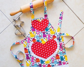 Kids/Toddlers Apron Cats, girls kitchen craft art play apron, cats and polka dots on red hearts, childs lined cotton apron with heart pocket