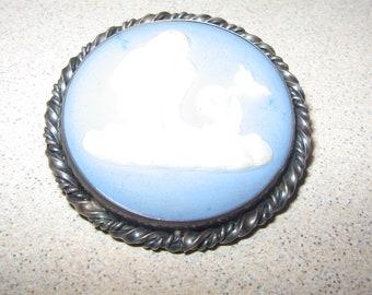 Wedgwood Sea God Merman Sterling Silver Pin Brooch Vintage Costume Jewelry #5627