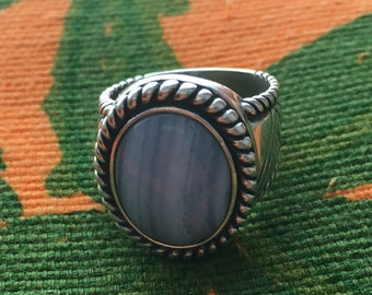 Sterling Silver Light Blue Chalcedony Ring