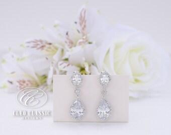 Bridal Jewelry Bridesmaid Jewelry Wedding Jewelry Crystal Bridal Earring Rhodium Zircon Dangle Earrings Bridesmaid Drop Earrings