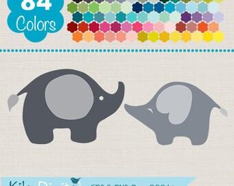 Elephants Clip Art, Rainbow Elephants Clipart, Colorful Baby Elephants Vector Graphics, Huge Clipart Pack - INSTANT DOWNLOAD