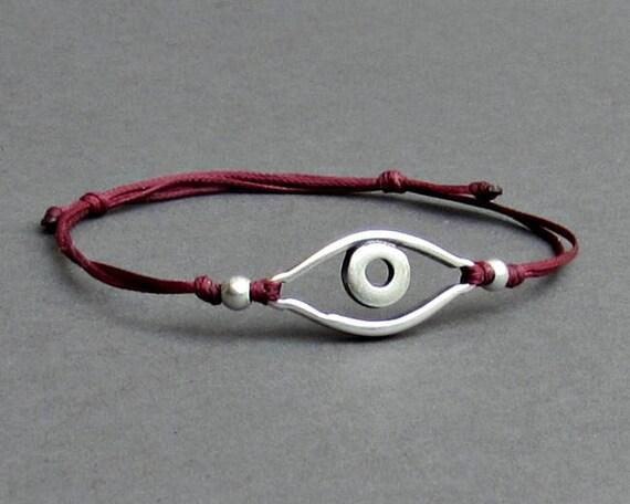 Silver Evil Eye, Men's Bracelet, Silver Evil Eye Charm, Cord Bracelet For Men, Gift for him, Bestfriend Bracelet, mens jewelry, Adjustable