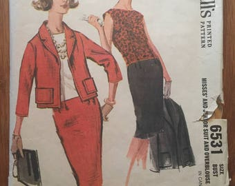 """Vintage 1962 McCall's Misses' #6531 Suit and Overblouse 16 Bust 36""""  Vintage McCall's Pattern  /  Skirt Suit / Vintage Suit Pattern"""