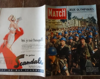 Vintage French Paris Match Magazine No 400 Jeux Olympiques Les Casques Bleus Special circa 8 Decembre December 1956 / English Shop