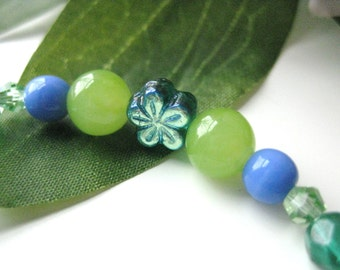 Girls Bracelet Green and Blue with Green Flowers, Stretch Bracelet, Medium, GBM 167