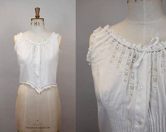 Edwardian Corset Cover / Victorian Camisole / Antique Cotton / Insert Lace / Shaped Hem / Satin Ribbon / Size Medium / S M