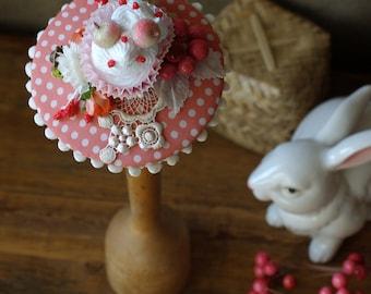 Bridal headpiece rockabella style fifties wedding vintage bride bridesmaidspink lace Cupcake fascinator silk rockabilly 50s peach polka dots