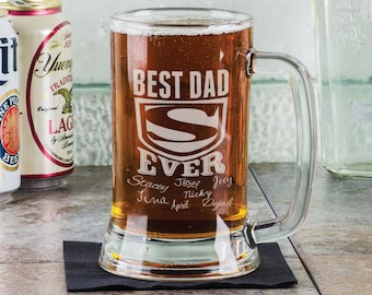 Best DAD Ever Fathers Day Beer Mug 16 Oz  Engraved Father's Day Birthday Gift Super Dad with Kids Names Gift for Dad, Daddy, Father, Grandpa