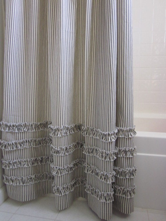 Vintage Ticking Stripe Shower Curtain With Ruffles 5 Colors