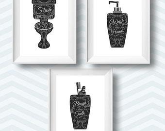 bathroom printables, bathroom rules, bathroom rules printable, bathroom printable, bathroom print set, bathroom decor, bathroom art set