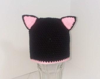Black Cat Hat/Halloween/Costume/6-12 month/Winter/Crochet